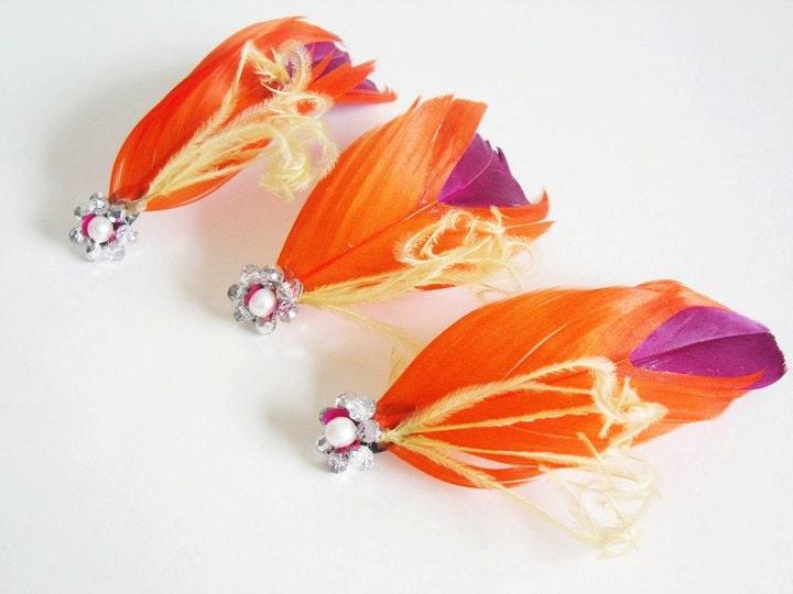 Orange and Purple Bridal Fascinator Set - Feather Bridal Fascinators (Set of 3) - PetalVeils
