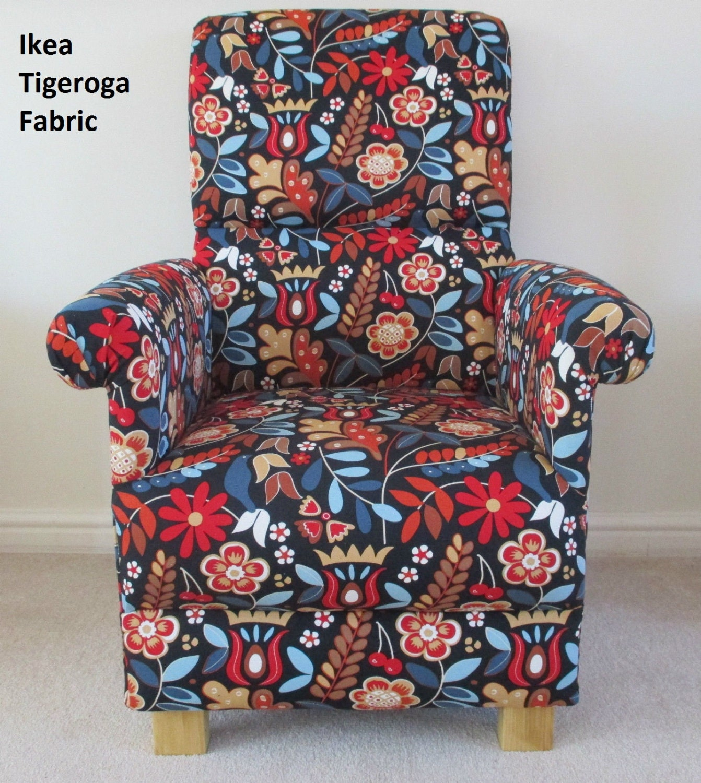 Ikea Tigeroga Fabric Chair Retro Floral Dark Red Black Accent Bright Bespoke New Handcrafted Flowers Bespoke Nursery