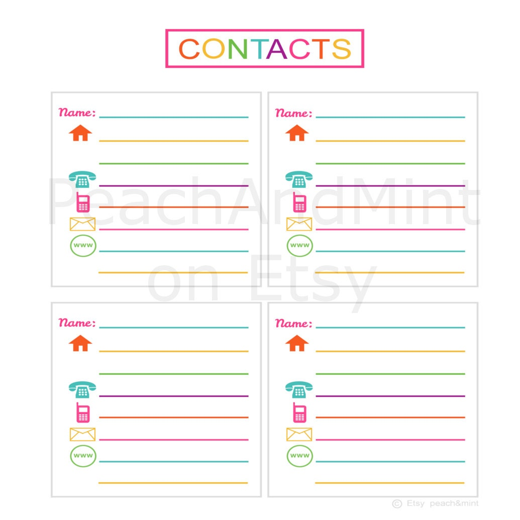 Cute Contact List Template  CityEsporaCo