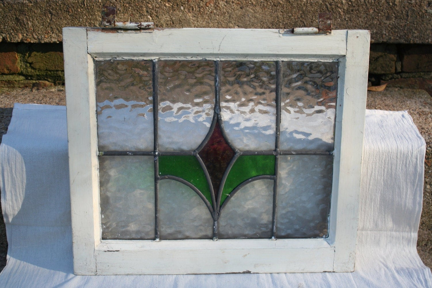 Antique Victorian Era Stained Glass Window By