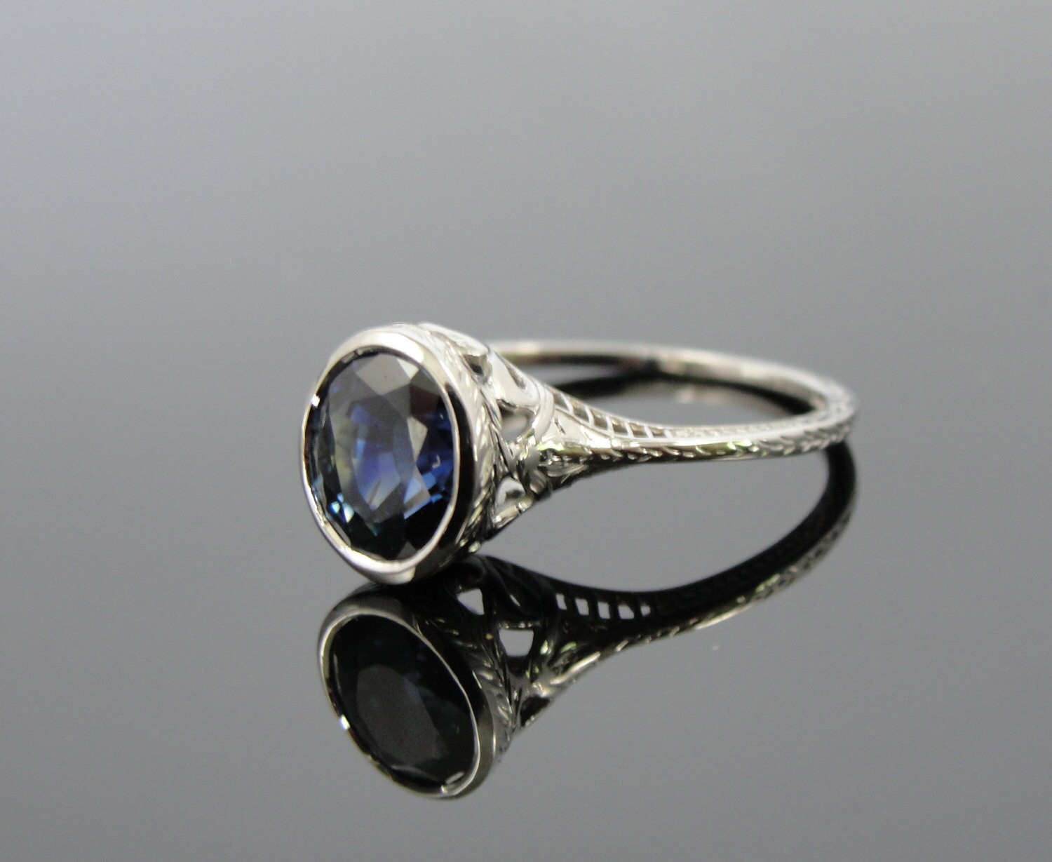 Unique Art Deco Sapphire Engagement Ring in by MSJewelers on Etsy