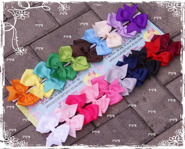 20 hair bows / 1.00 each / girls hair bows / bows / fit newborn infant toddler/ favors/ birthdays/ starter set
