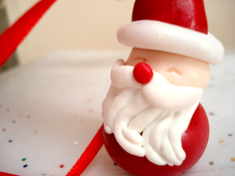 Santa christmas ornament polymer clay santa claus christmas ornament