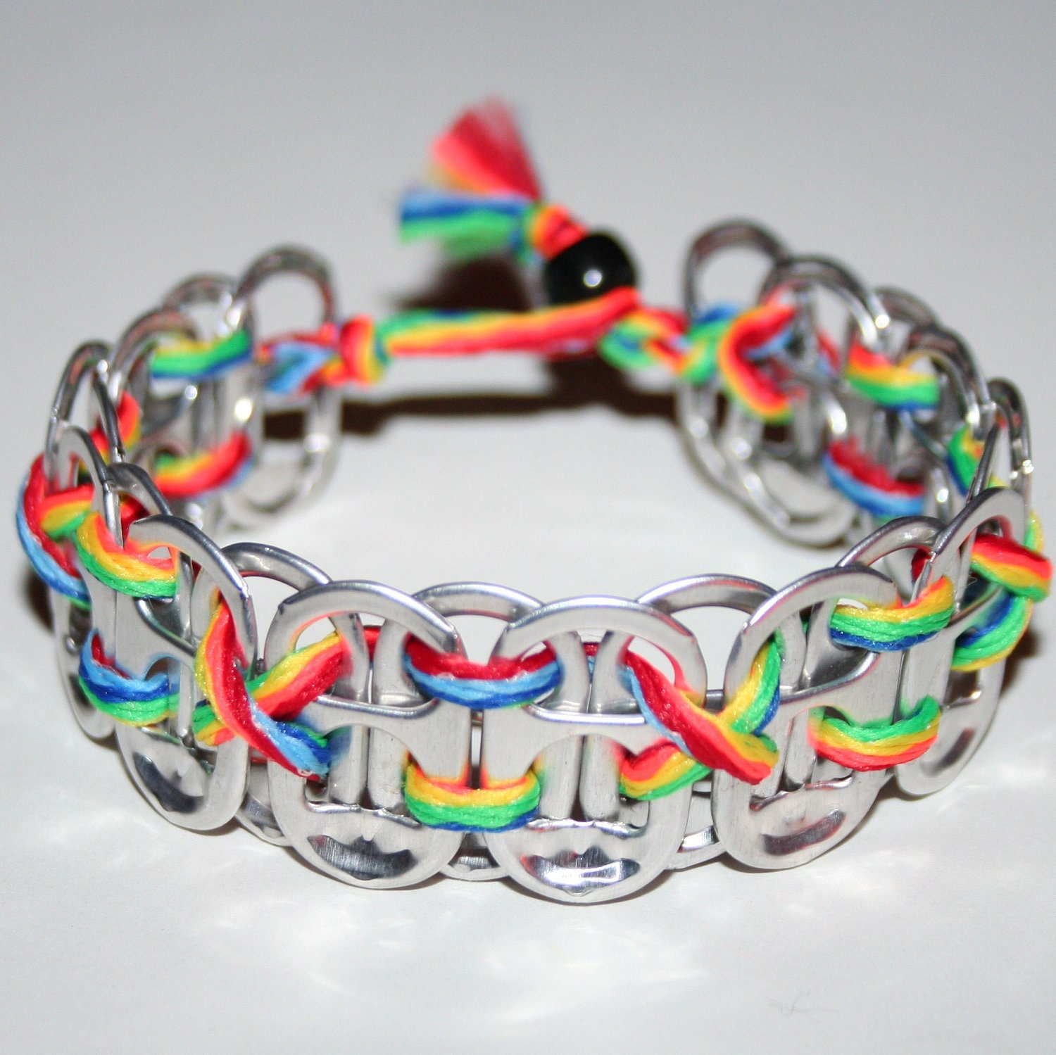 rainbow pop can tab bracelet with alternating by eclectickel