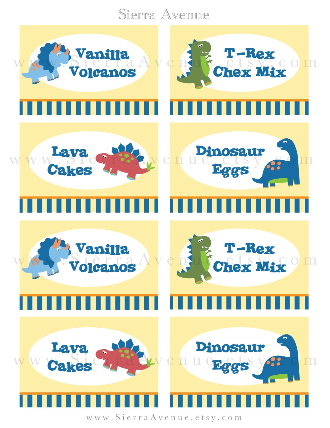 Dinosaur Themed Party Food Labels Or