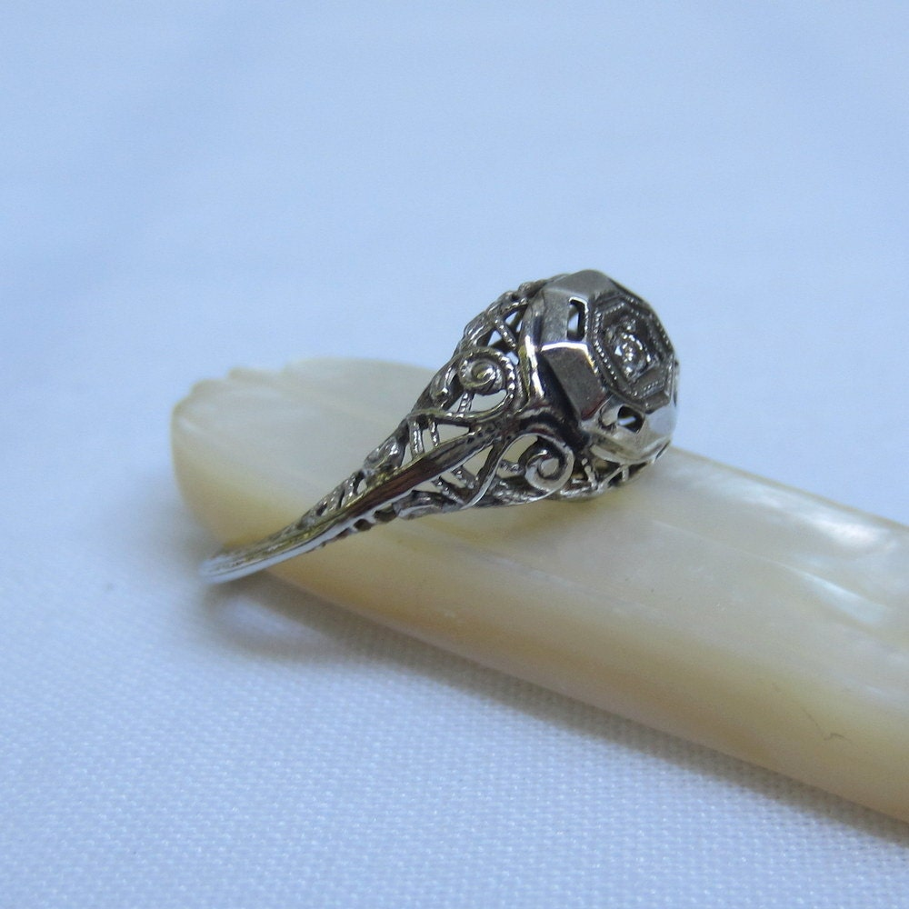 Vintage Diamond Ring Filigree Art Deco Engagement Ring by Addy