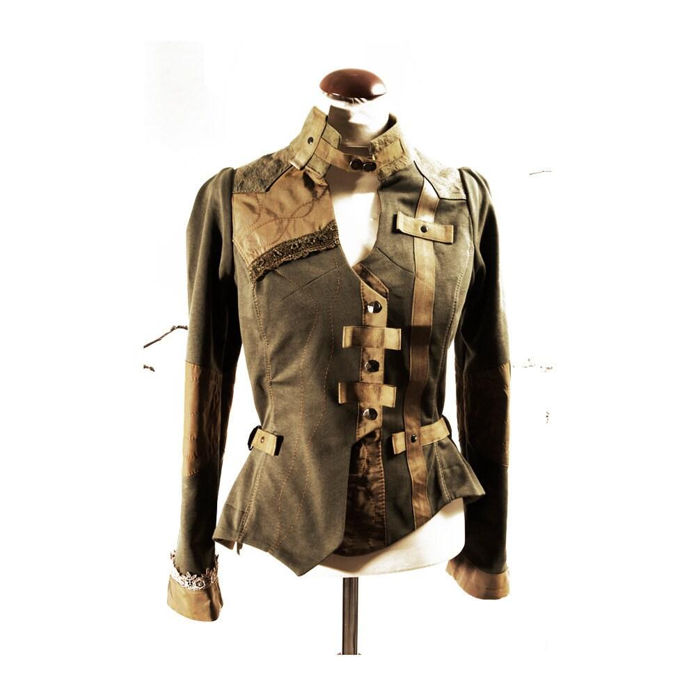 Equestrian style Jacket  Cropped Handmade Romantic Civil War Khaki Green cotton fashion Wear - lummedesigns