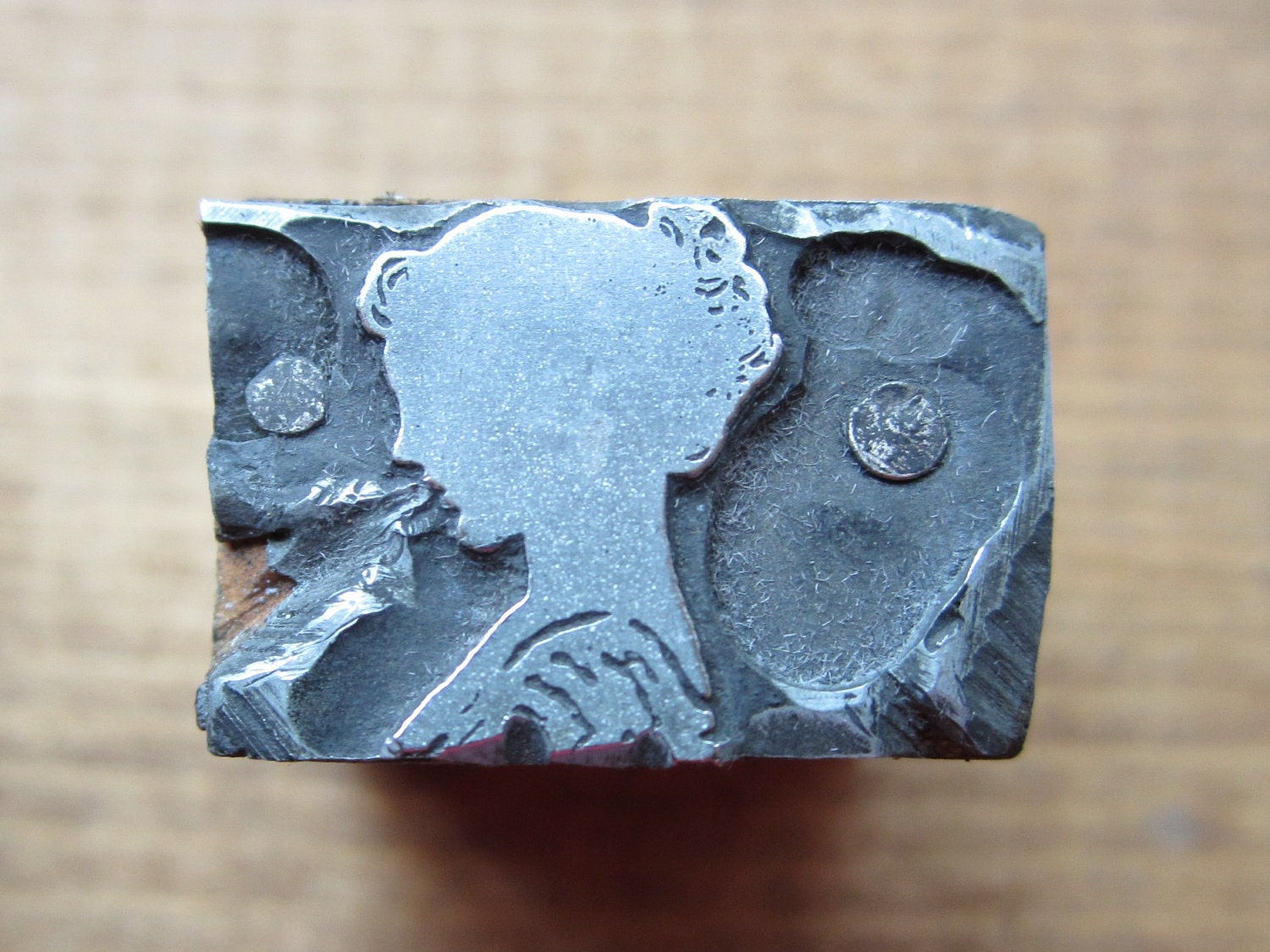 Vintage Letterpress Printers Block Young Woman or Girl Silhouette - PreserveCottage
