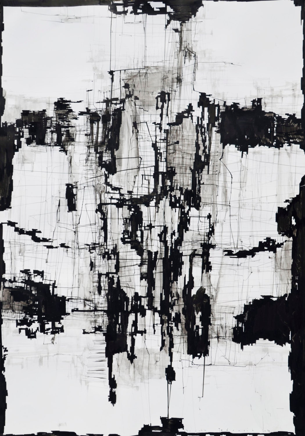 Large Abstract Black And White Art Print Giclee By