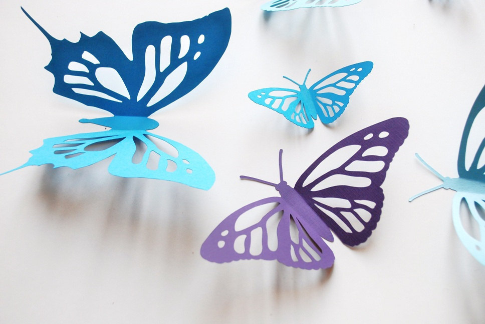 3D paper butterfly, monarch butterfly, new cut, wall sticker, room decoration, baby nursery, wedding decoration in blues and purple 16 pcs