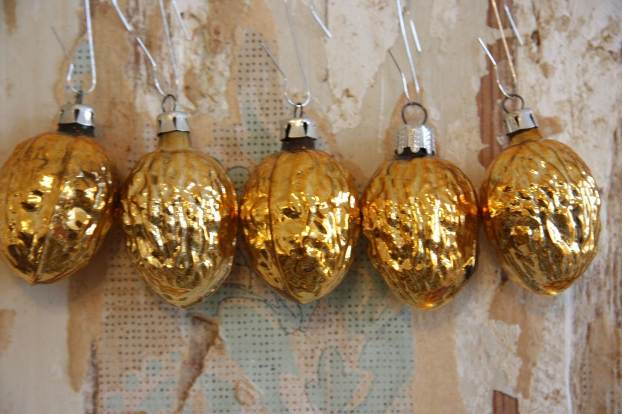 Two Golden Walnut Ornaments - Mercury Glass - RetroKombinat