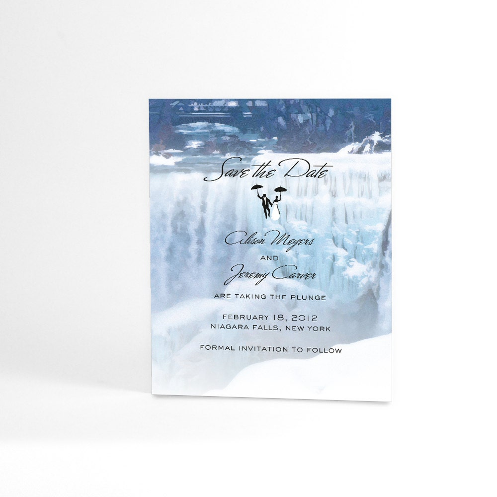 Waterfall save the date cards frozen winter by alookoflove for Waterfall design etsy