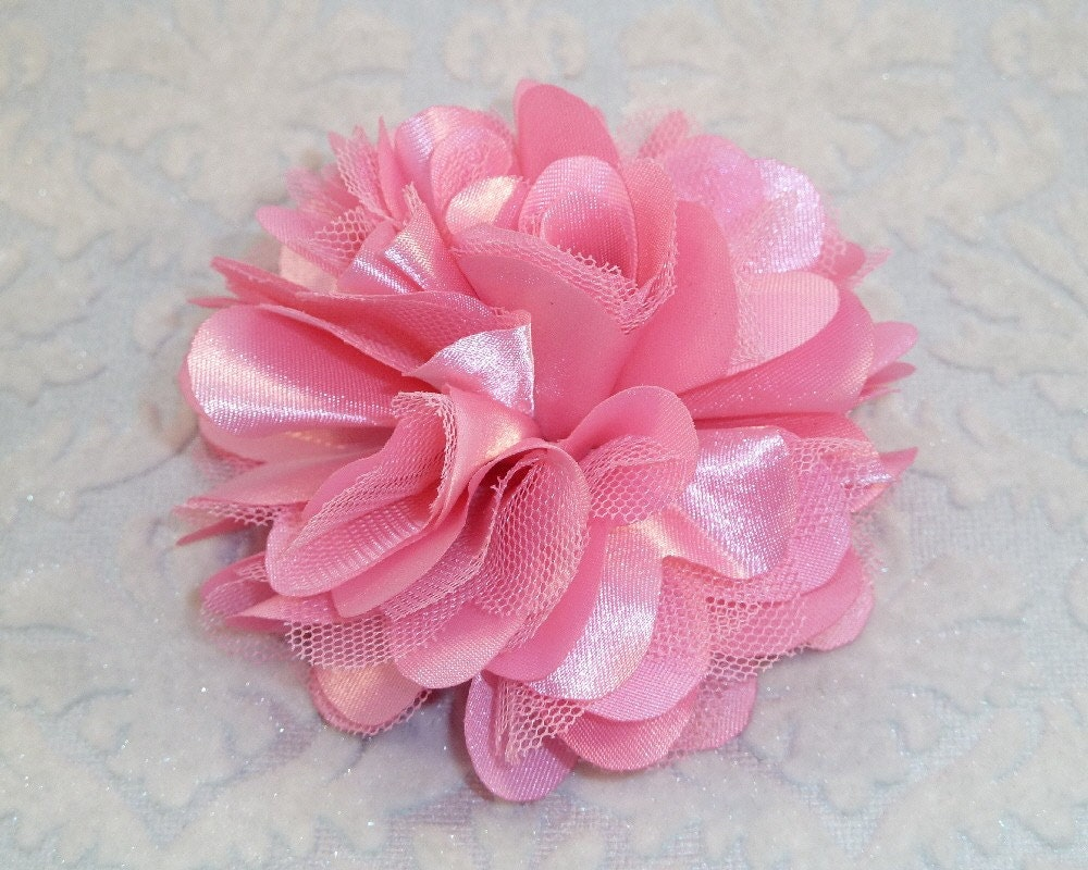 BACK in STOCK Treasury Featured SINGLE Pink Satin and Tulle Puff Flower - Blossomheads