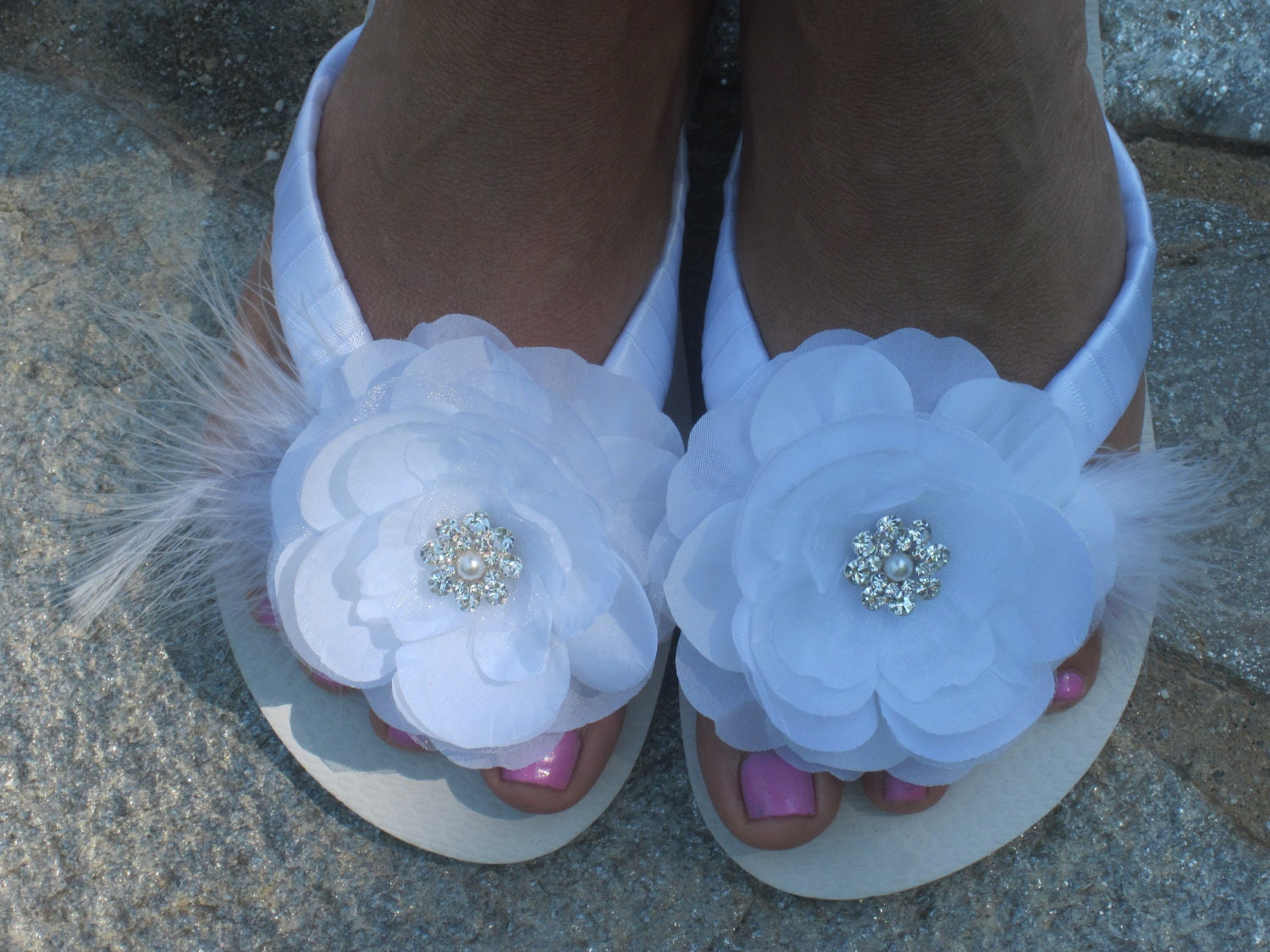 bridal flip flops wedges wedding flip by rocktheflops on etsy