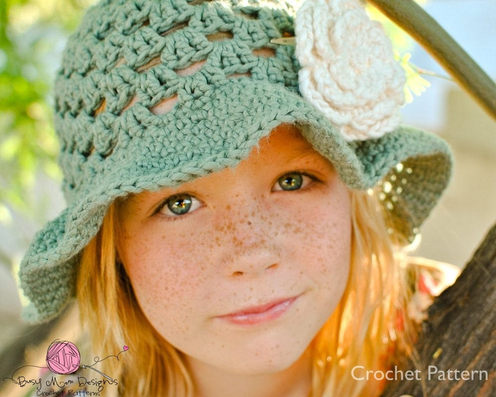 Summer Fling Sun Hat CROCHET PATTERN - with 3 Layer Flower - All sizes included - Fast and Easy - pdf 103 - Sell what you Make - BusyMomDesigns