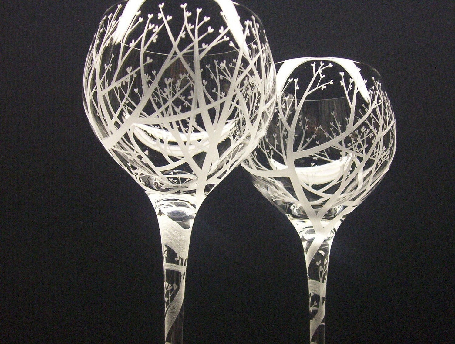 Tree Of Love Spiraled Stem 2 Red Wine Glasses by daydreemdesigns