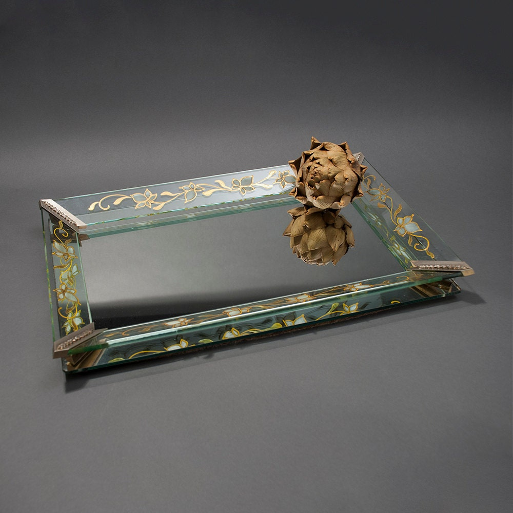Items Similar To Vintage Mirrored Vanity Tray Large