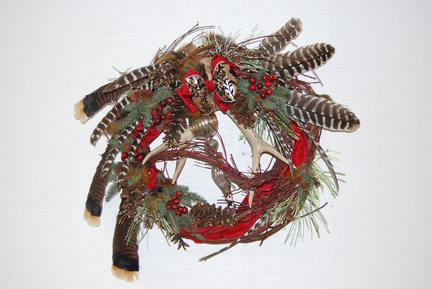 Unavailable listing on etsy for Antler christmas wreath