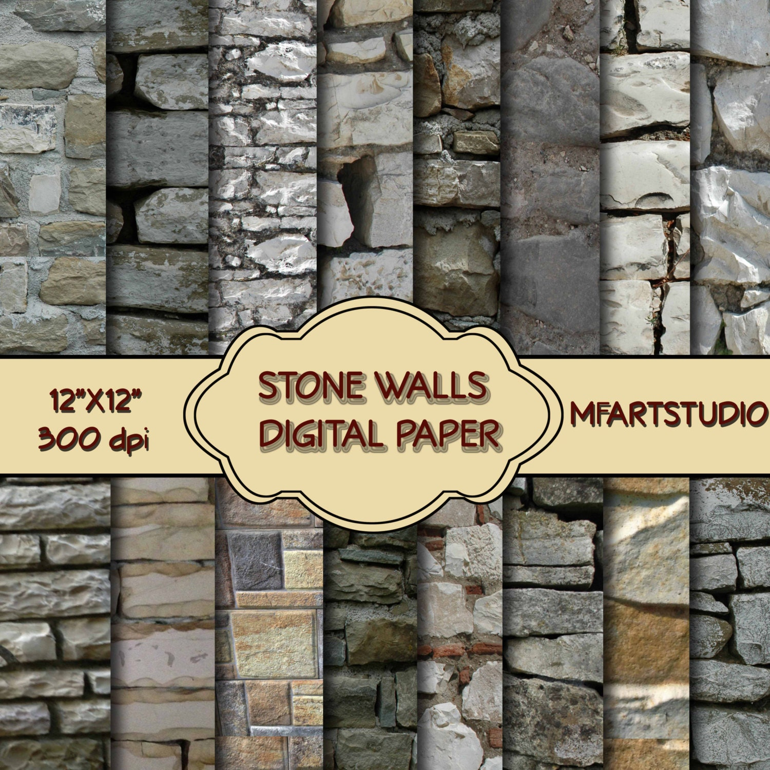 Paper Stone Walls : Stone wall digital paper pack instant download by mfdigiland