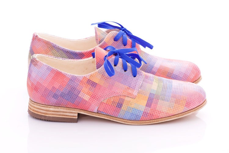 Pastel pixels - Leather oxford shoes for woman