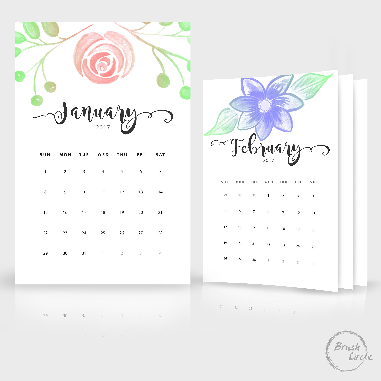 2017 2018 Calendar Template 12x18 A4 Photo Simple Wall