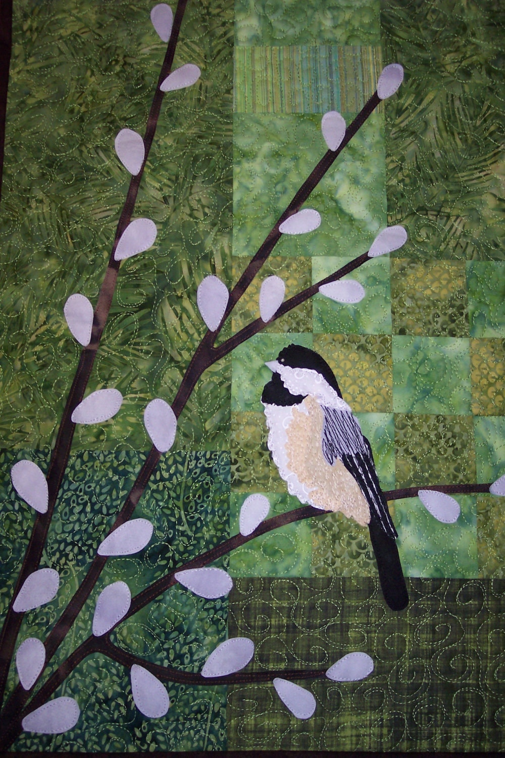 "Chickadee on Pussy Willow Branches Quilted Wall Hanging, 14 x 24"" - LyndiArt"