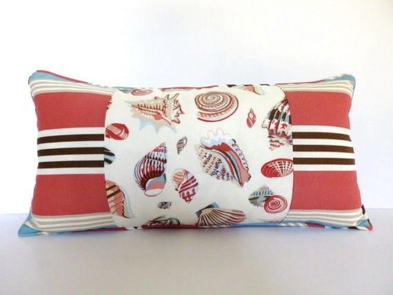 Seashells and Stripes Lumbar Pillow, Coral and Turquoise Lumbar Pillow ...