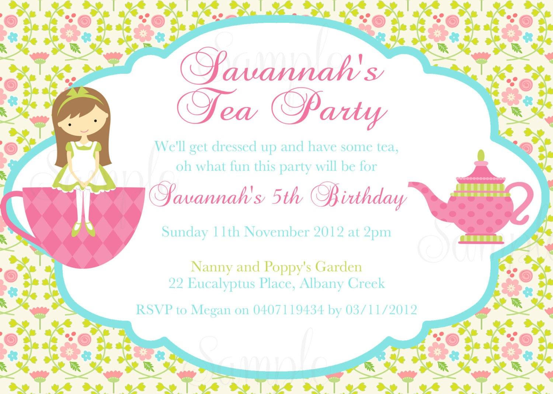 Tea Party Birthday Theme Printable Invitation by TheLovelyMemories