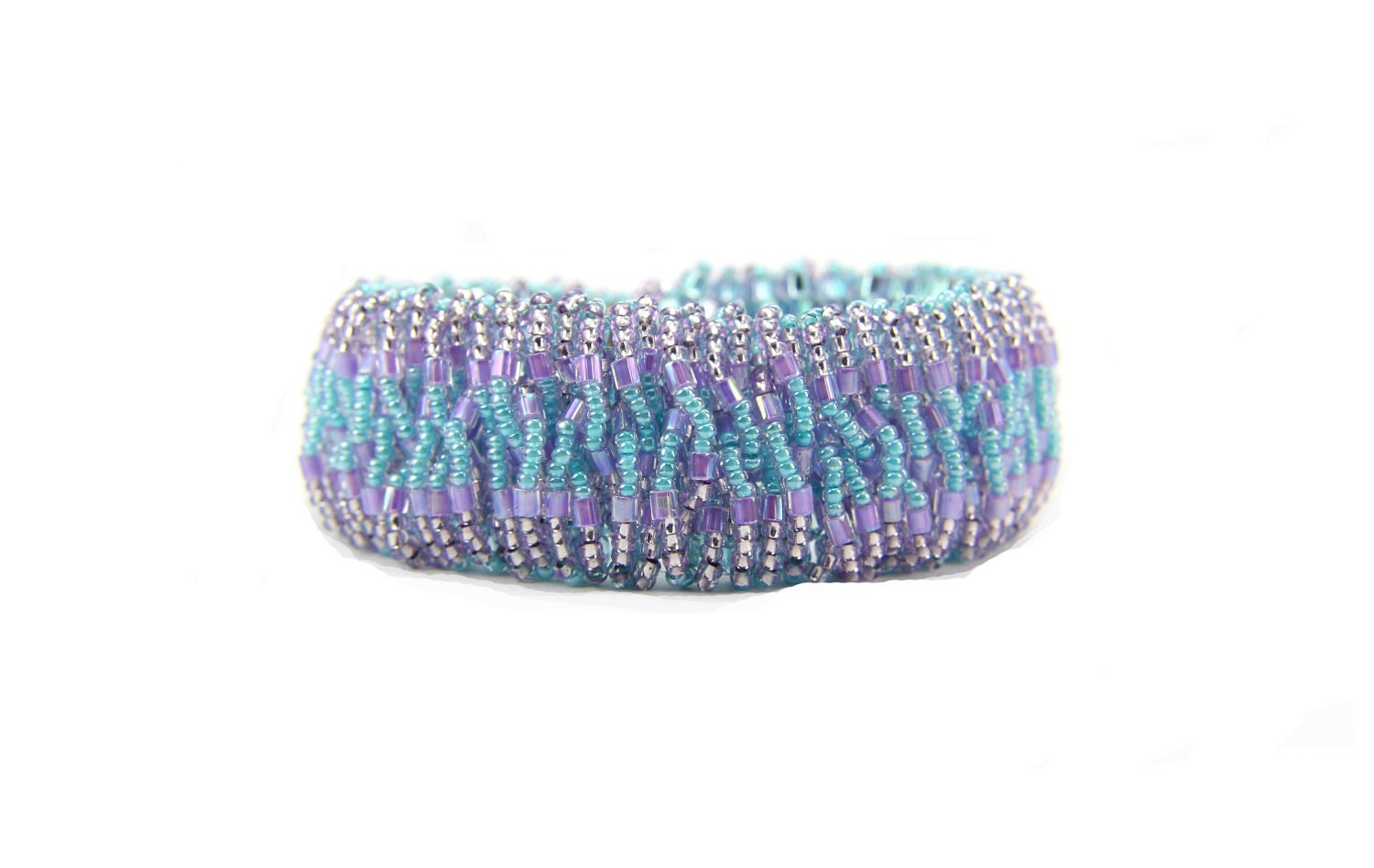 Bracelet Beaded Catepillar Aqua Turquoise Purple Pastel: Northern Lights - Thebracelettree