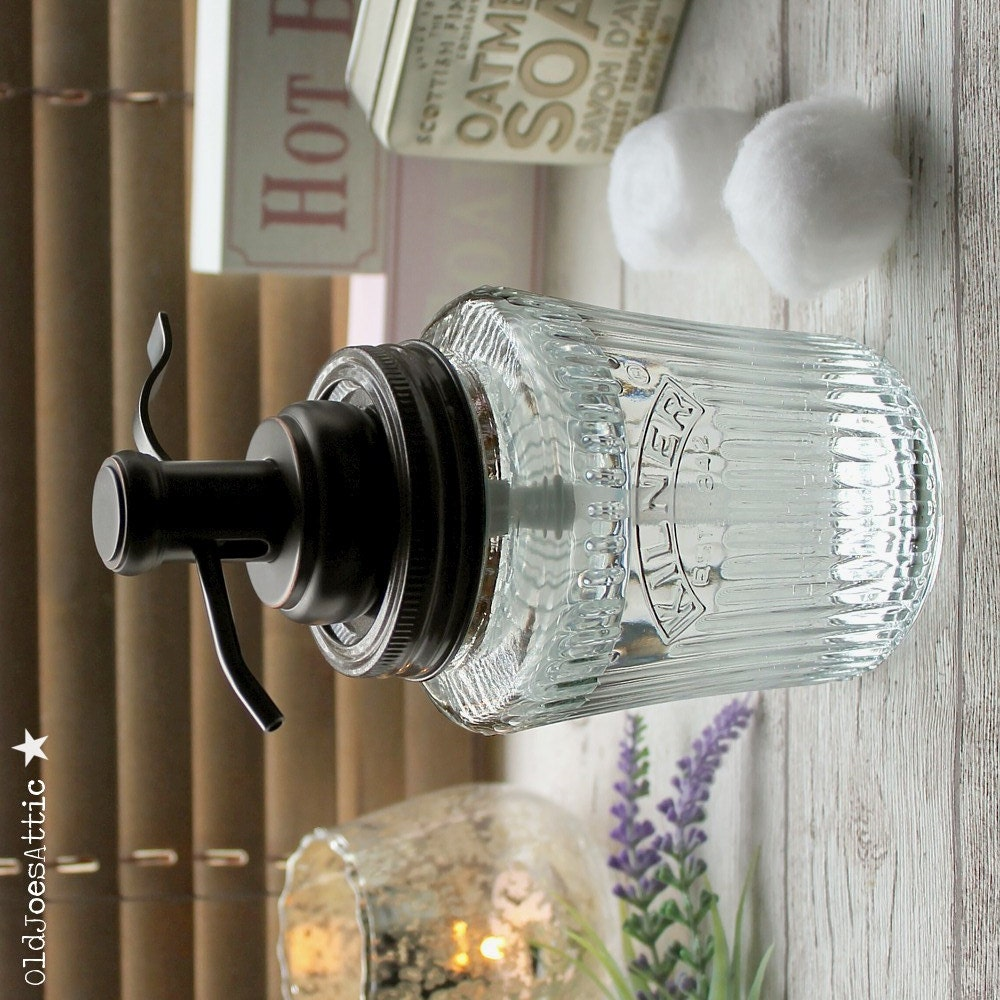 Kilner Vintage Preserve Jar Soap Dispenser with Oil Rubbed Bronze Water Well Pump UK SELLER