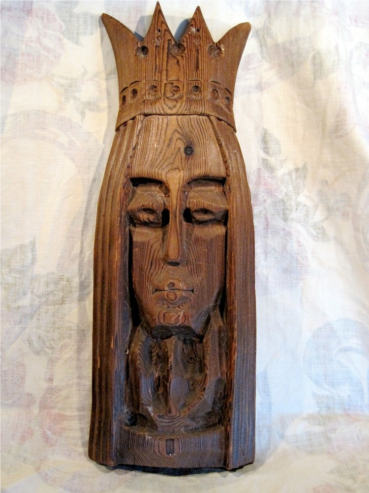 African masks carved wood queen head vintage collectible