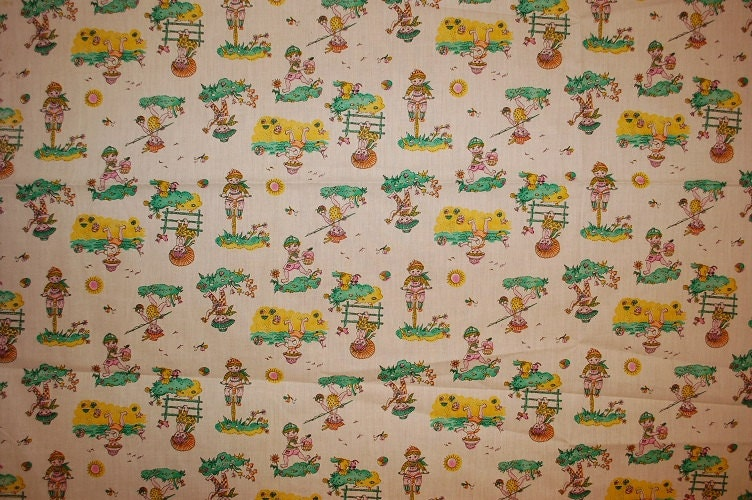 Items similar to vintage fabric retro material children 39 s for Retro baby fabric