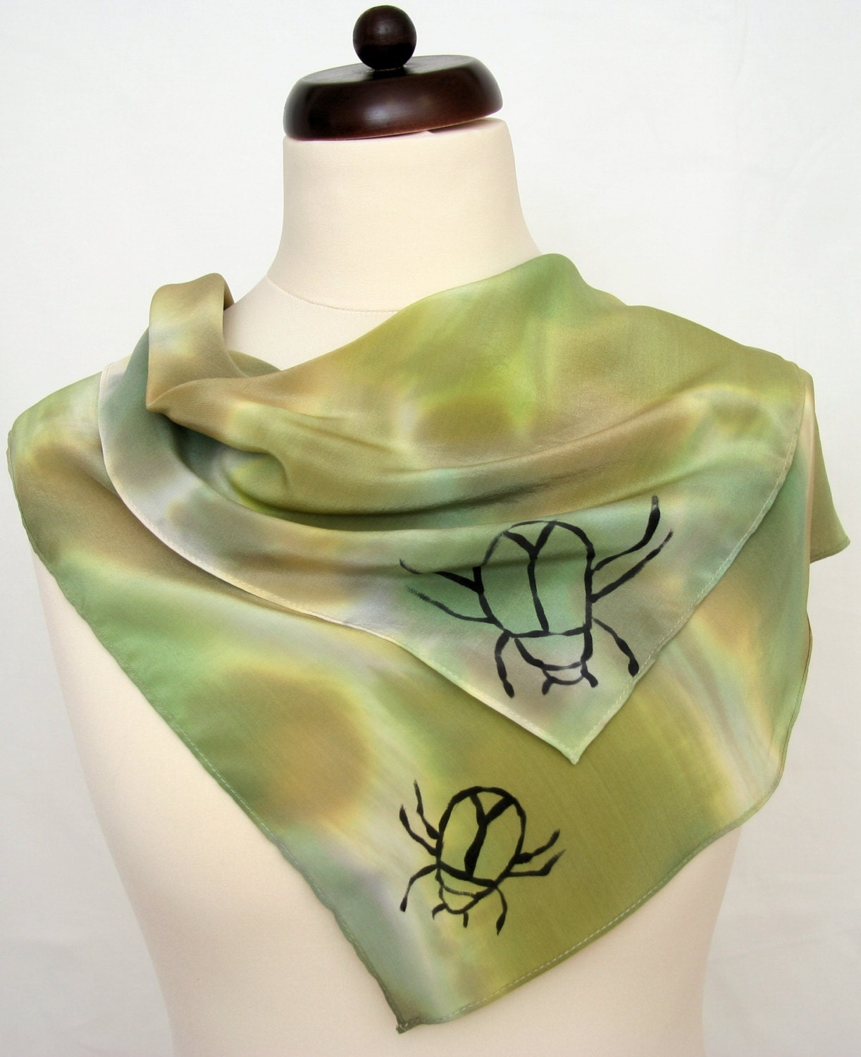Silk scarf hand painted in camouflage colors, with beetles. - DorSilk