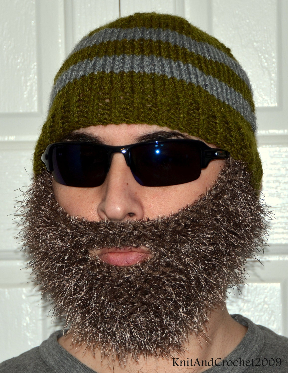 Knitting Patterns By Needle Size : Beard Beanie Knitted Beard Hat Adult Size by KnitAndCrochet2009