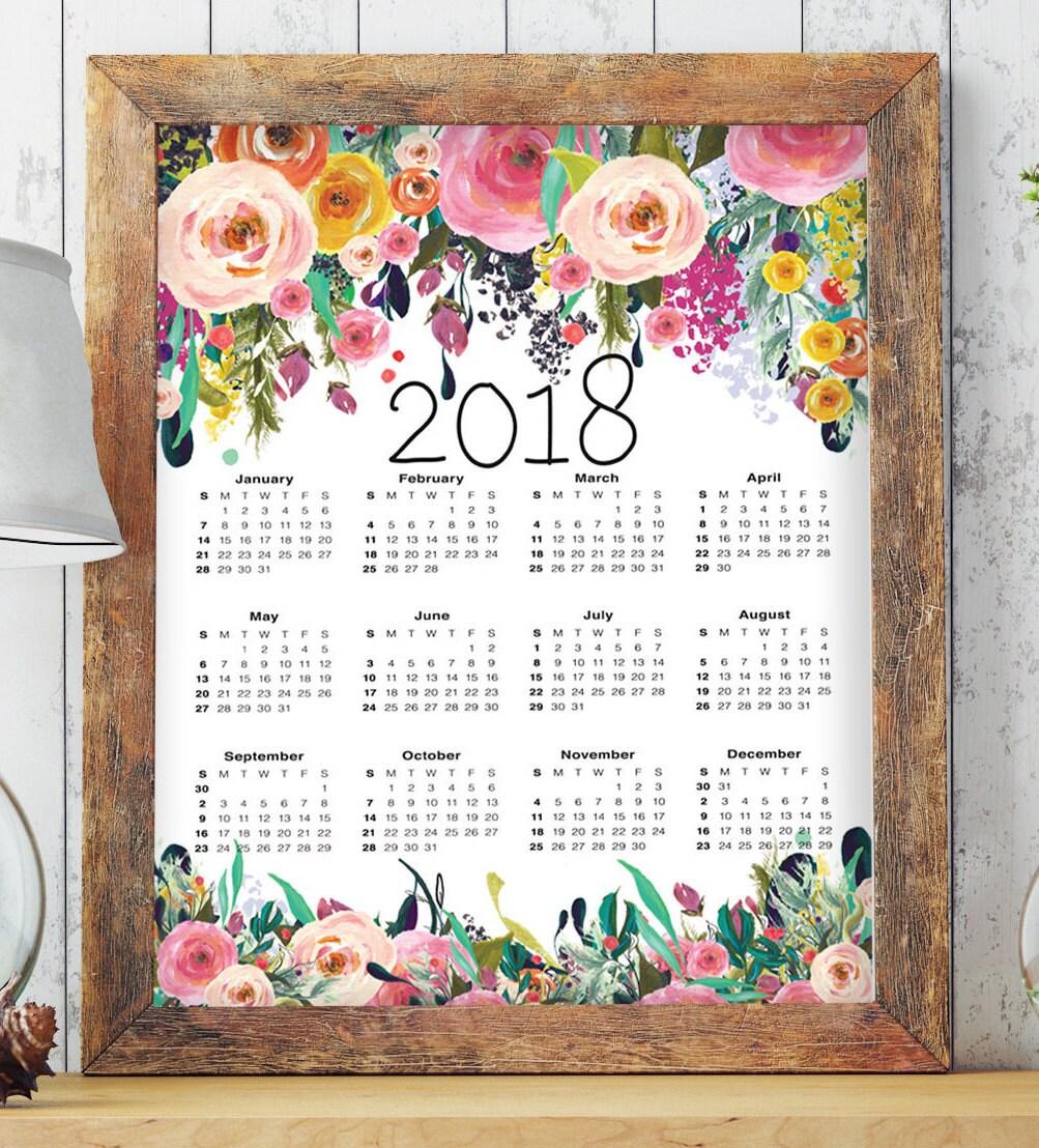 2018 Calendar Printable Floral Calendar 2018 Calendar Large