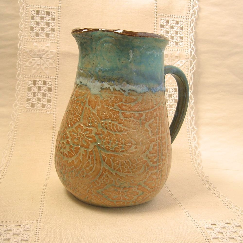 Stoneware Pottery Quart Pitcher with Turquoise Rim