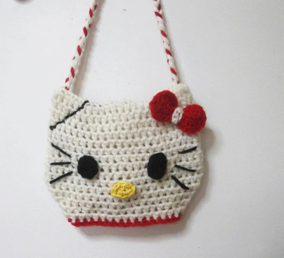 Crochet Purse Patterns Hello Kitty : Items similar to CROCHET PATTERN Hello Kitty Bag, (Pdf ...