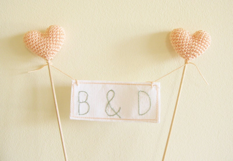Peach Wedding Cake Topper Personalized Initials with Crocheted Hearts by