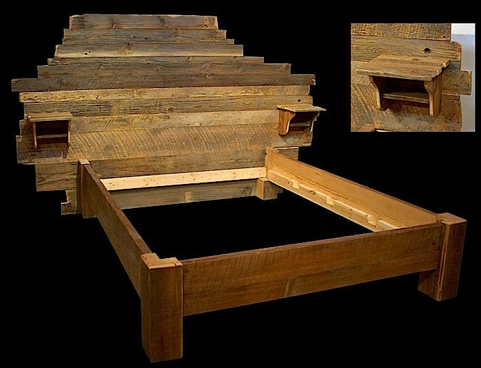 Custom Headboard reclaimed wood bed by MistyMtnFurn on Etsy