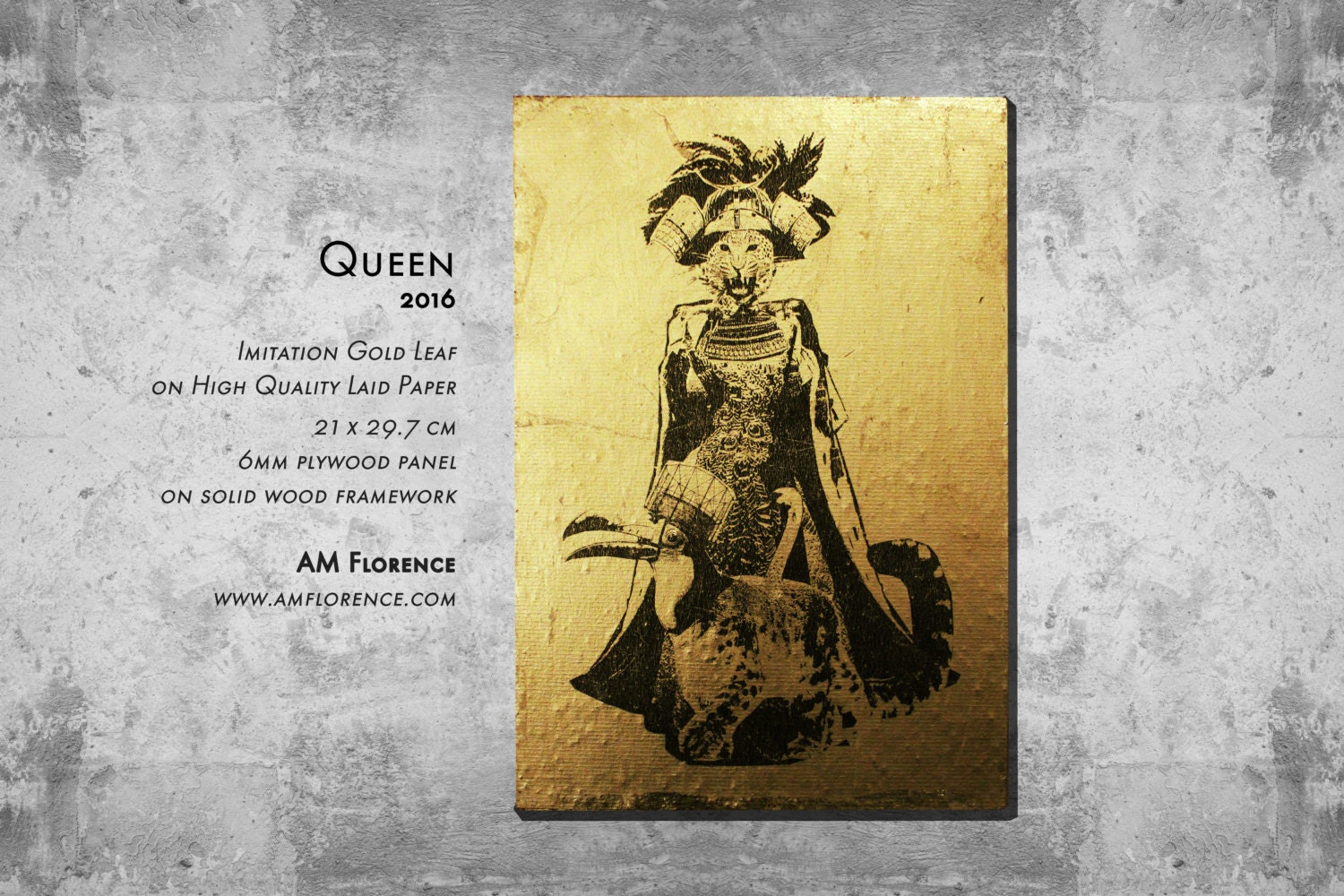 A4 Elegant Animal Art Print Picture on Imitation Gold Leaf and wooden frame home decor handmade Queen