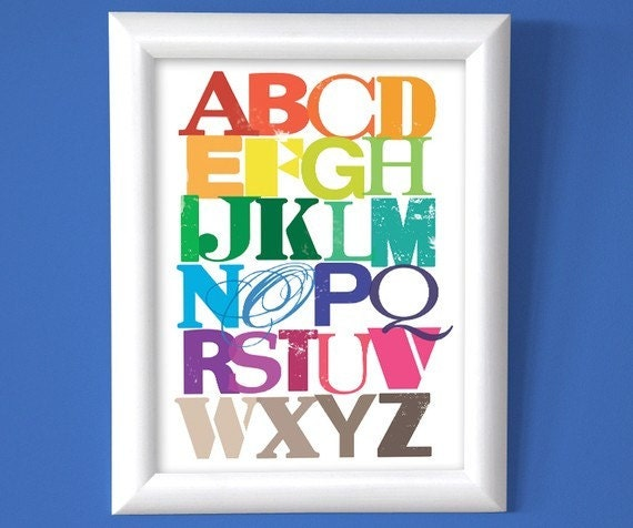 Colourful Alphabet Digital Print - cloudninecreative