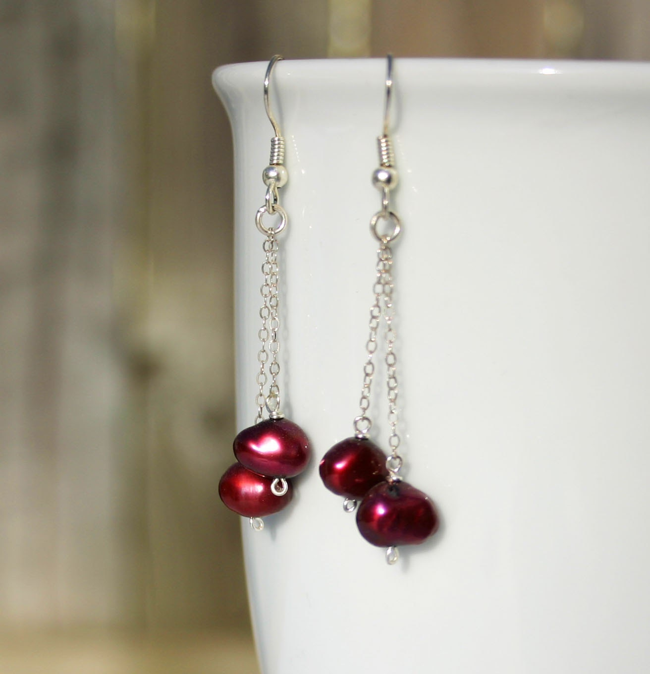 Ruby red pearl chain drop earrings - Drakestail
