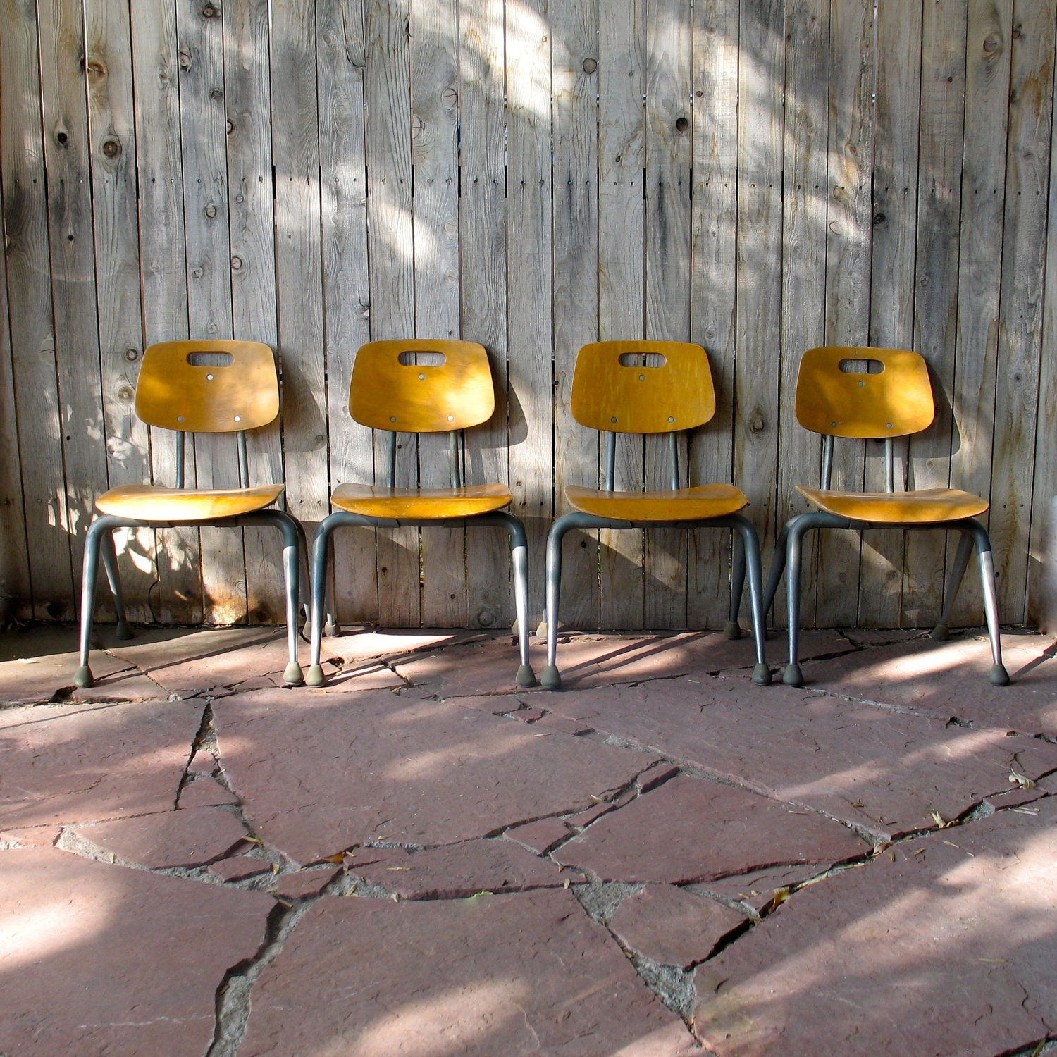 Set of 4 Vintage Brunswick School Chairs - GraceWillVintage