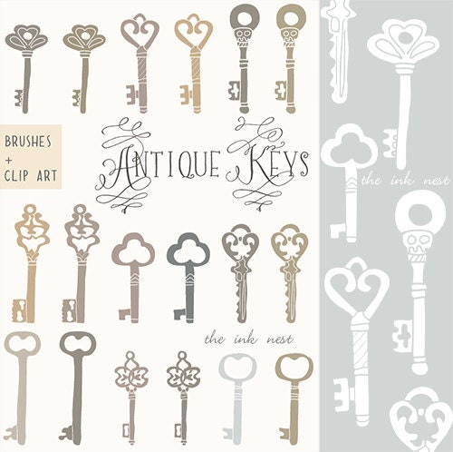 Clip art and photoshop brushes antique keys for by theinknest for Antique key art