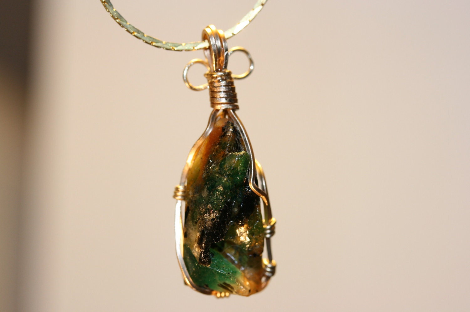 Emerald And Golden Beryl Gold Wire Wrap