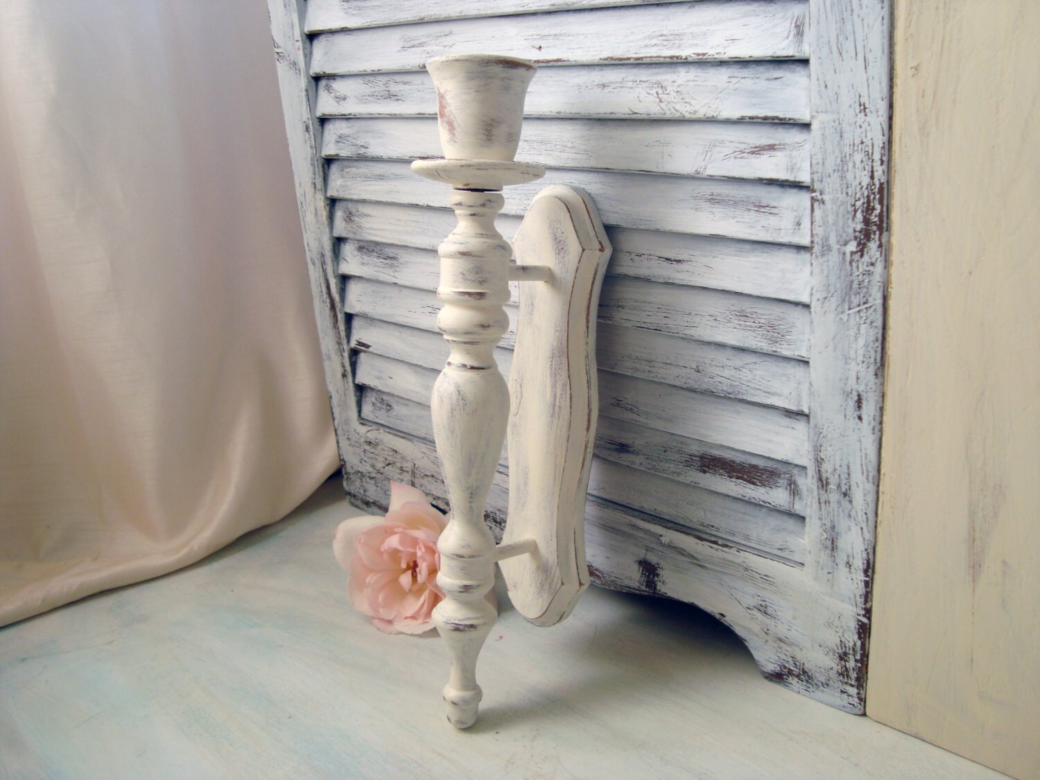 White Vintage Candle Wall Sconce Distressed by WillowsEndCottage