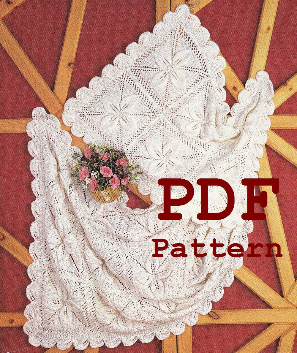 Free Knitting Patterns For Baby Christening Blankets : Baby Blanket Knitting Pattern Instant Download by ...