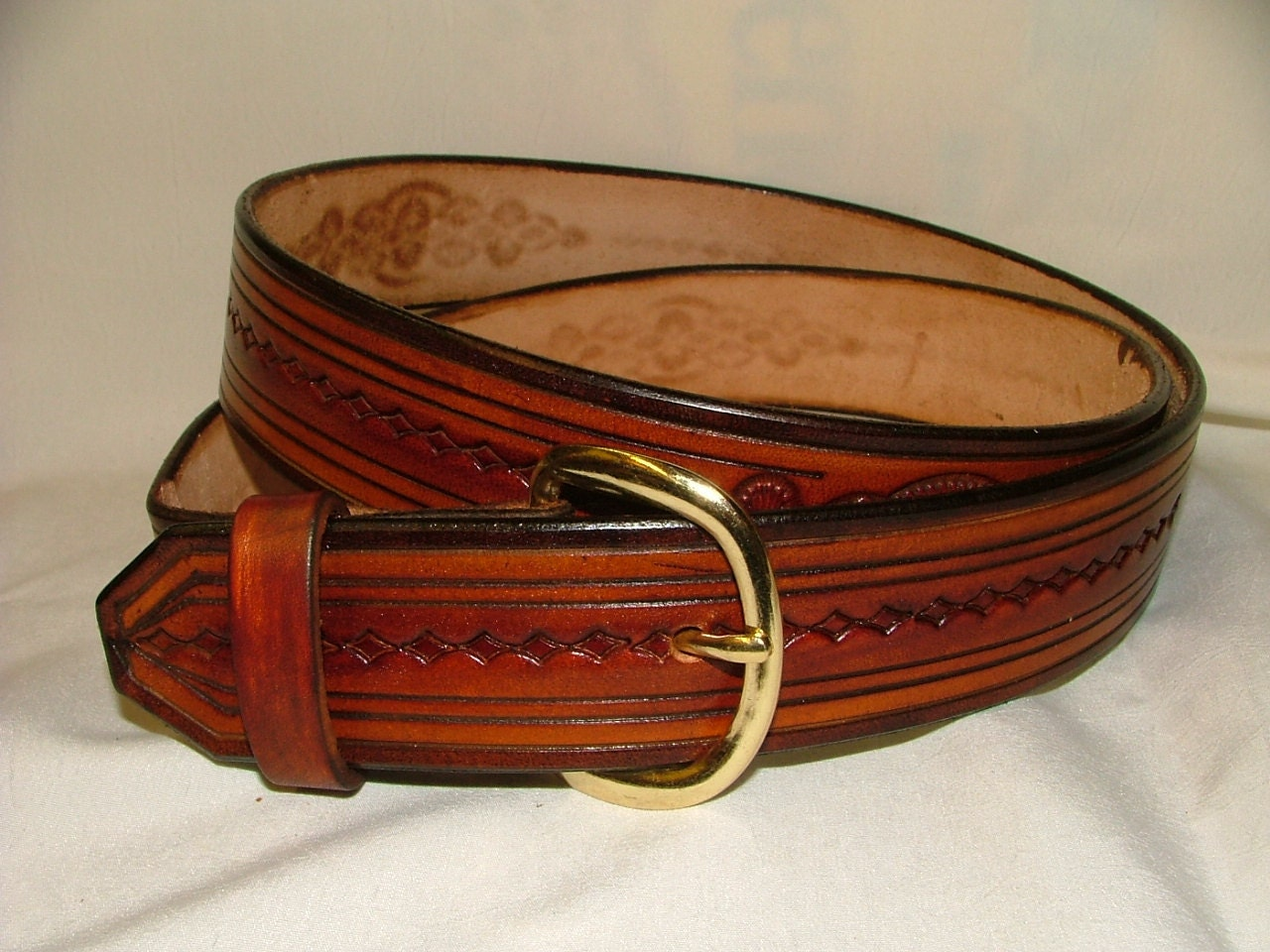 tooled leather belt no b 3005 1 1 2 wide by