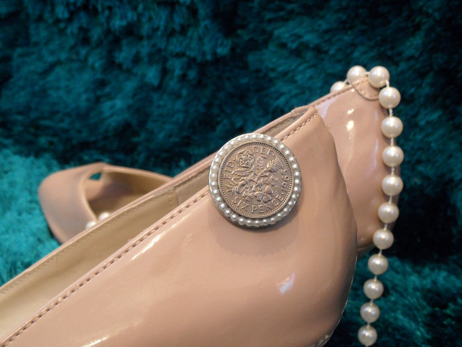 A sixpence for your wedding shoe  vintage pearl style embellished silver coin shoe clip 23mm