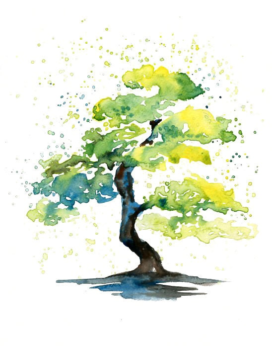Bonsai Print from my original watercolor painting 8x10 by ...